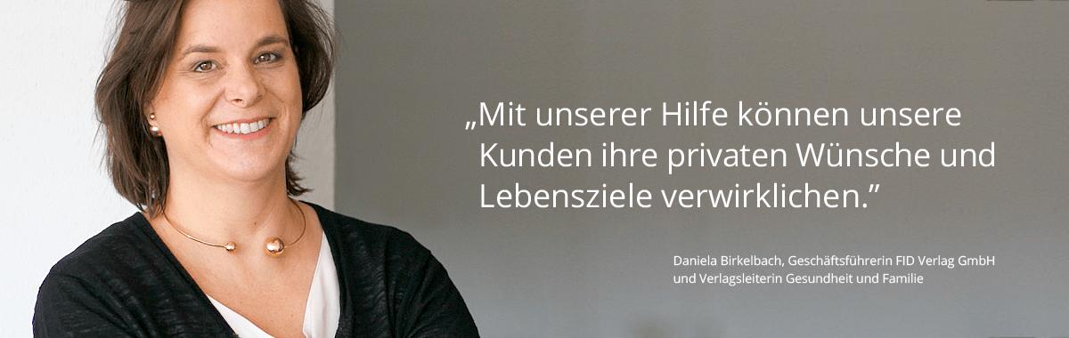 Portrait mit Daniela Birkelbach und Zitat