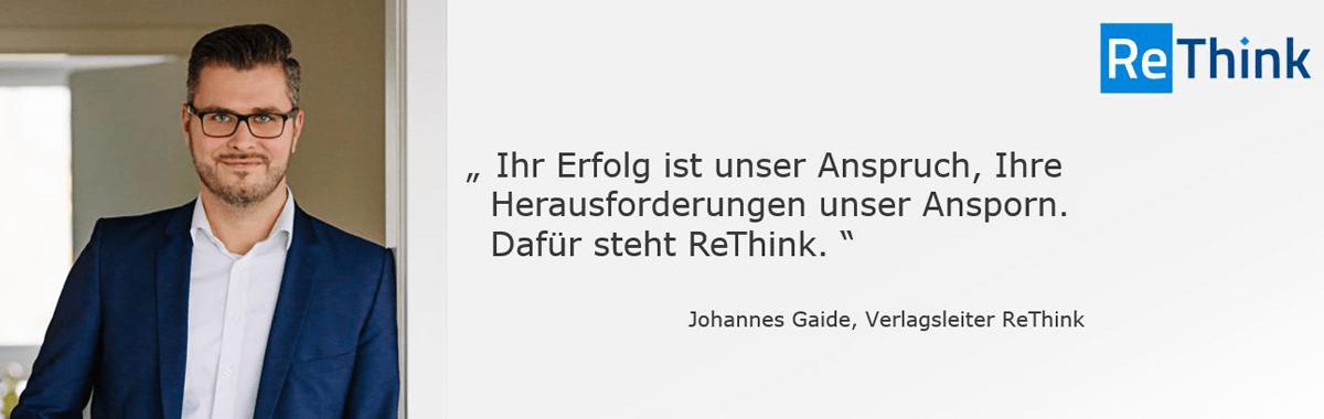Portrait von Johannes Gaide und Zitat